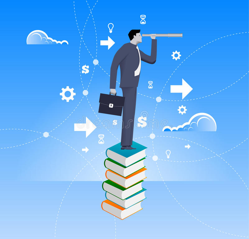 Power of knowledge business concept. Confident businessman in suit with case stand on top of book pile with looking glass. Search for opportunity, contacts stock illustration