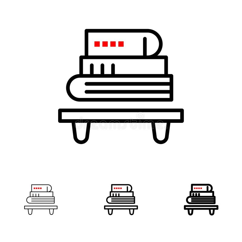 Power, Knowledge, Education, Livres Gras et mince ensemble d'icônes de ligne noire illustration stock