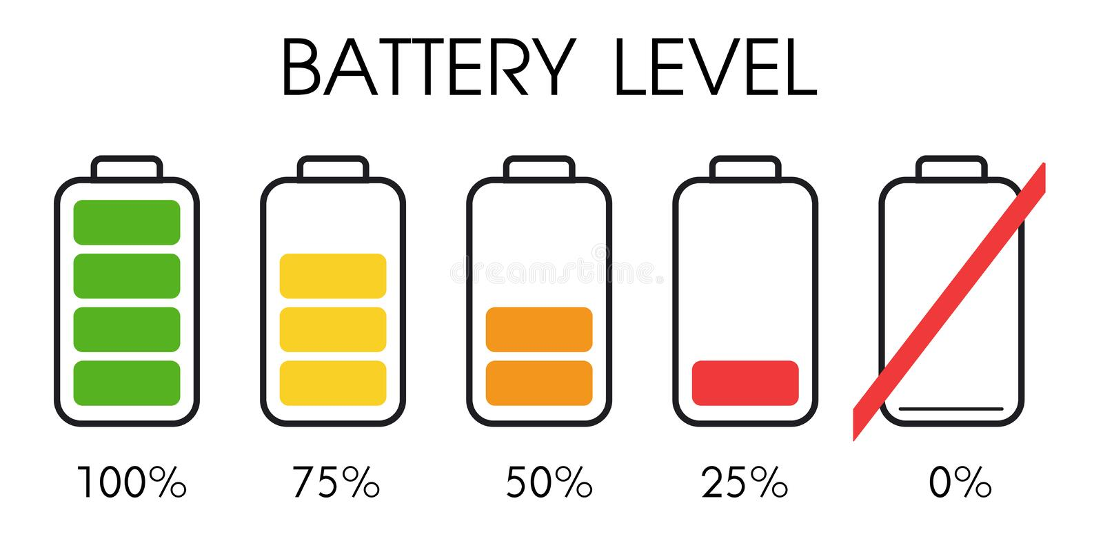 Power level icon on the smartphone battery stock illustration