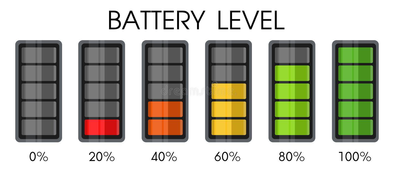 Power level icon on the smartphone battery royalty free illustration