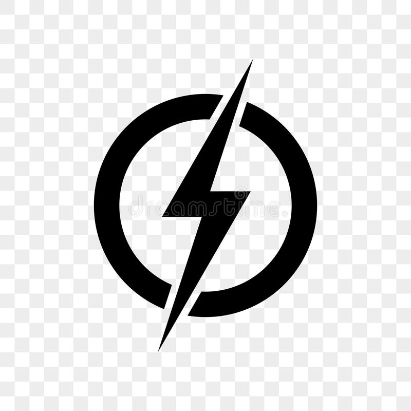 Power lightning logo icon. Vector black thunder bolt symbol vector illustration