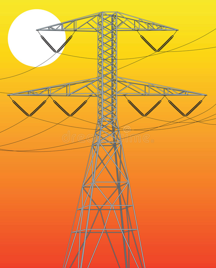 Download Power line stock vector. Image of main, energy, silhouette - 5259806