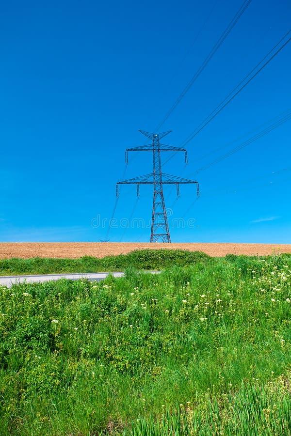 Power Line Against The Blue Sky Stock Photos