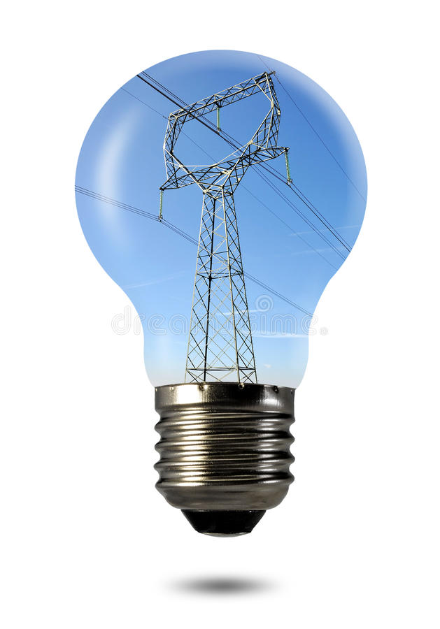 Power line in the bulb royalty free stock photography
