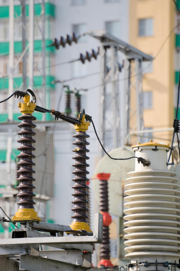 Download Power line in city stock image. Image of substation, technology - 18182089