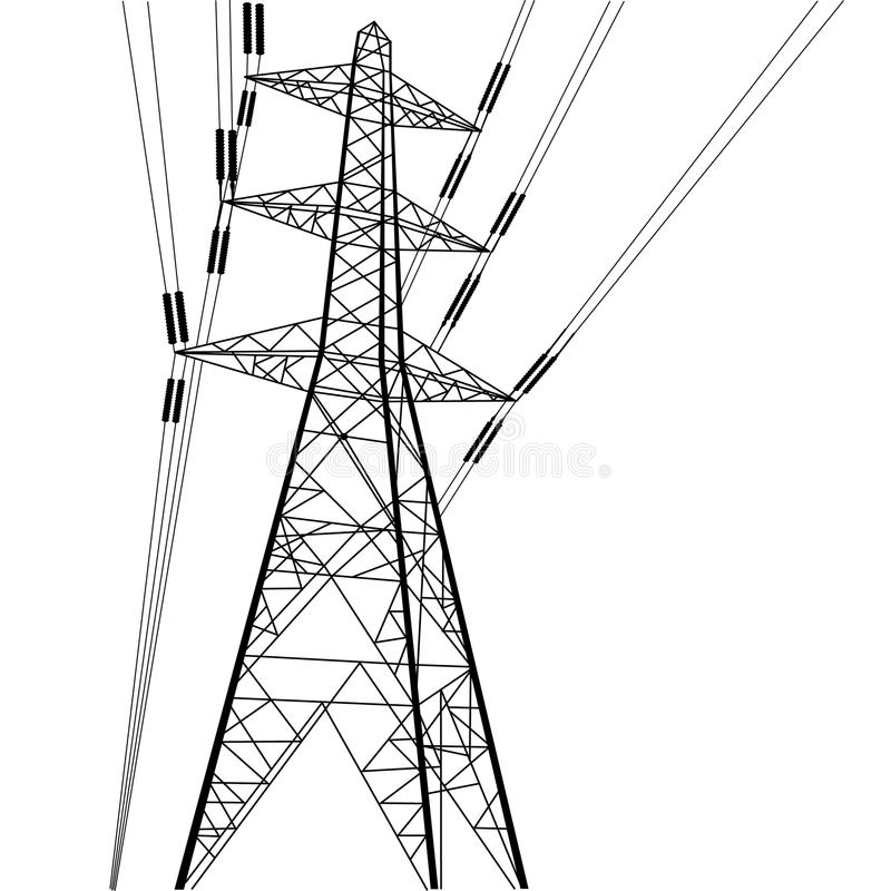 Power line construction royalty free illustration