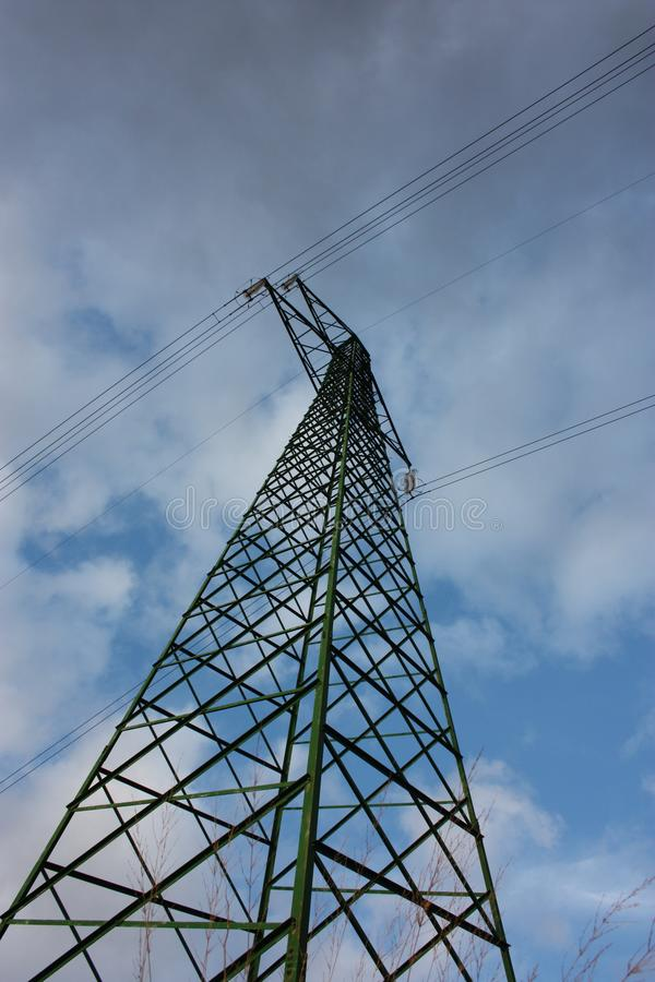 Power line. electric tower. trellis. vertical. metal support with trusses in aluminum.  stock photography