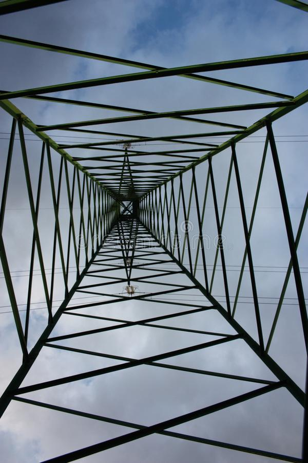 Power line. electric tower. trellis. vertical. metal support with trusses in aluminum.  royalty free stock images