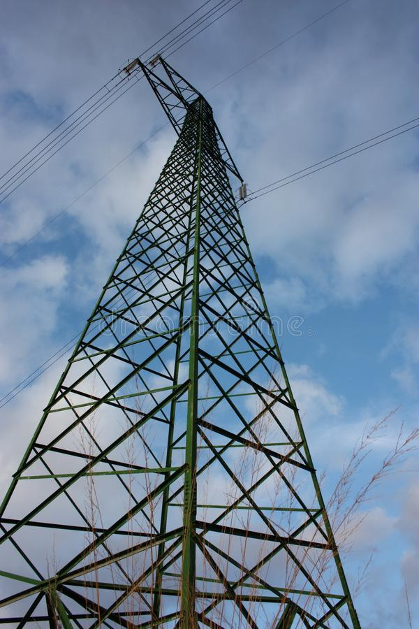 Power line. electric tower. trellis. vertical. metal support with trusses in aluminum.  royalty free stock photography
