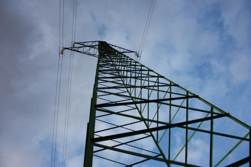 Power line. electric tower. trellis. vertical. metal support with trusses in aluminum.  royalty free stock photo