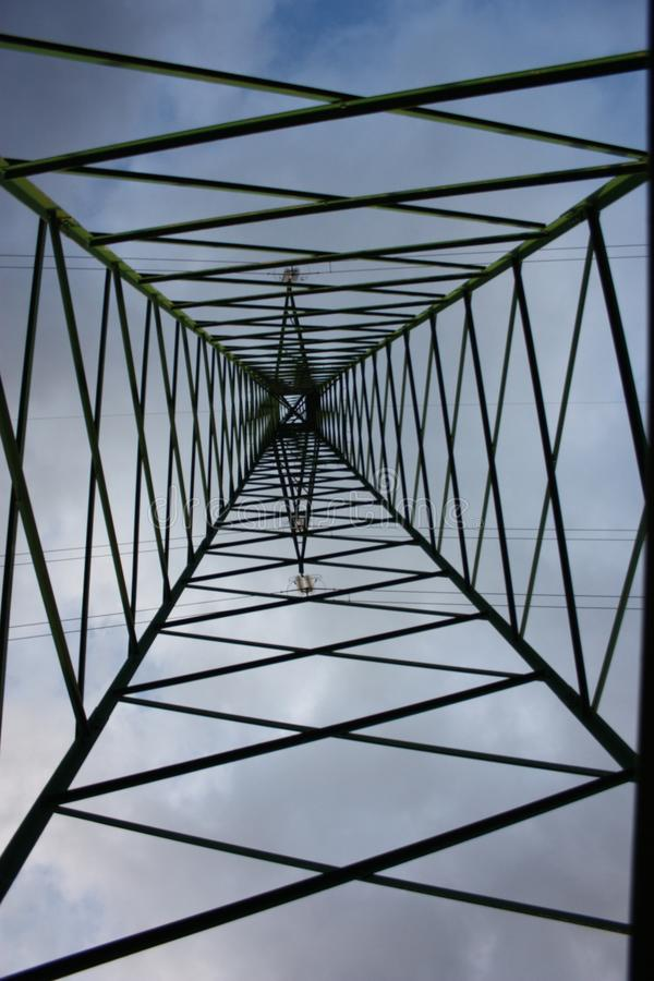 Power line. electric tower. trellis. vertical. metal support with trusses in aluminum.  stock photos