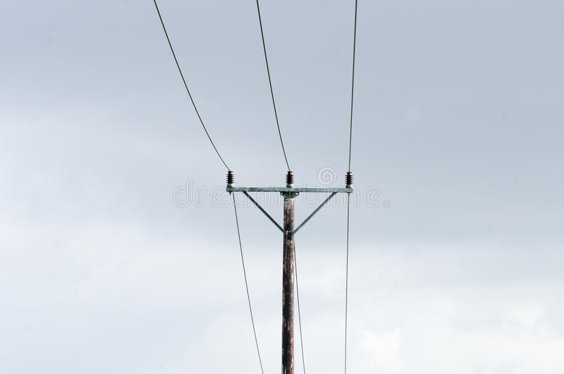 Power line. Electricity power line on a pole stock image