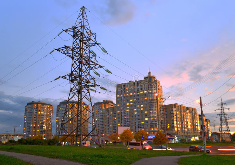 Download Power Line Feeding The Evening City. Stock Image - Image: 28629167