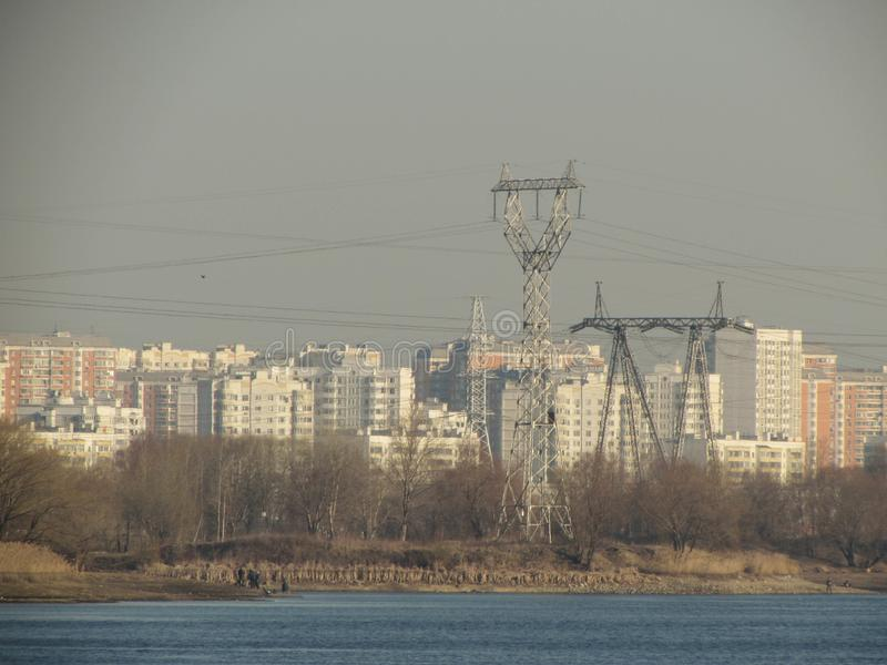 Power line in Moscow. stock photo