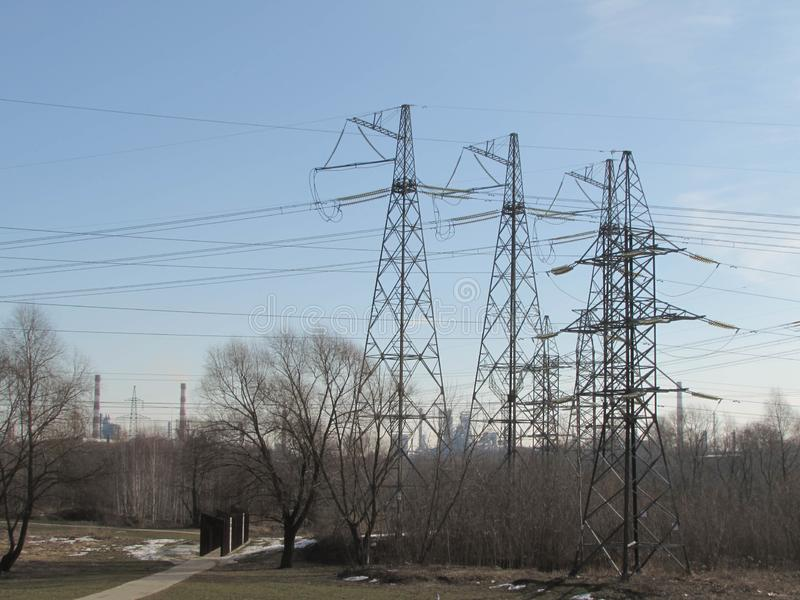 Power line in Moscow. stock photos