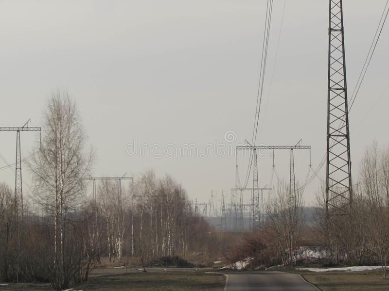 Power line in Moscow. stock photography
