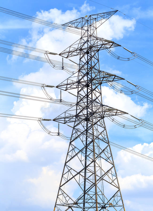 Power line. Power line on high power transmission tower stock images