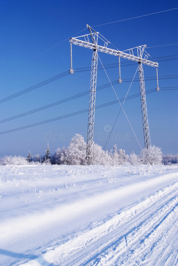 Download Power line in ice. Winter stock photo. Image of season - 10286068