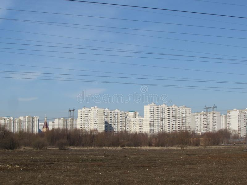 Power line in Moscow. royalty free stock photography