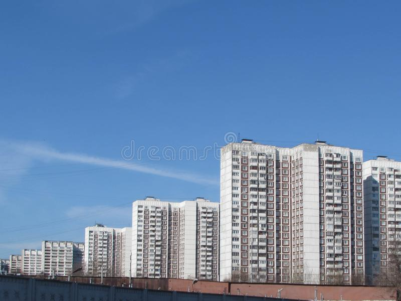 Power line in Moscow. royalty free stock photo
