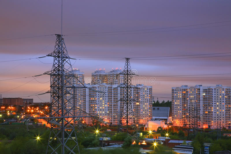Power line in Moscow. Russia royalty free stock image