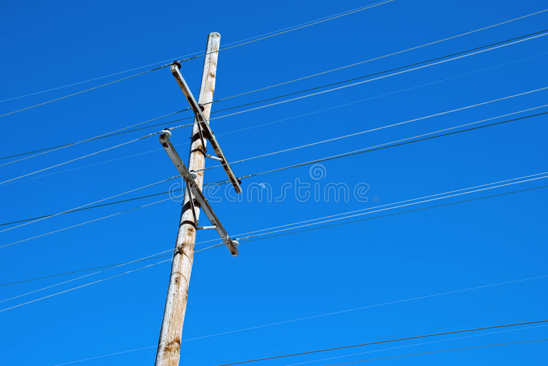 Download Power Line Pole And Half Moon Stock Image - Image: 8616025
