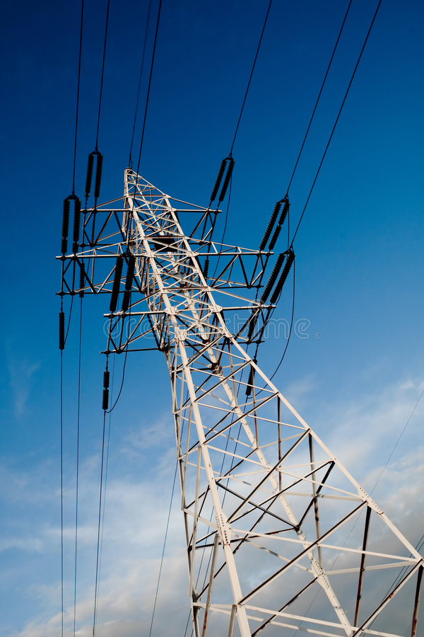 Download Power Line Pole Over Blue Sky Background Stock Photo - Image: 5198112