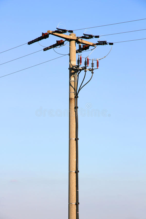 Download Power line post stock image. Image of blue, industrial - 28963451