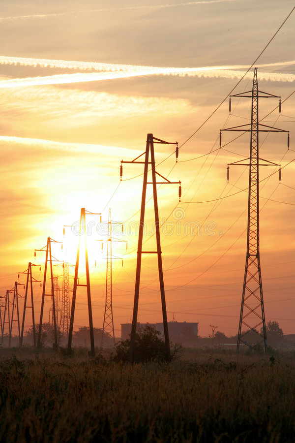 Free Power Line Sunrise Royalty Free Stock Photography - 4119547