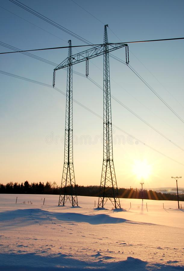 Download Power line at sunset stock image. Image of high, line - 12827837
