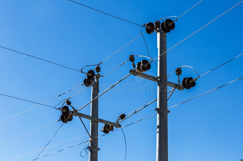 Power line supports royalty free stock images