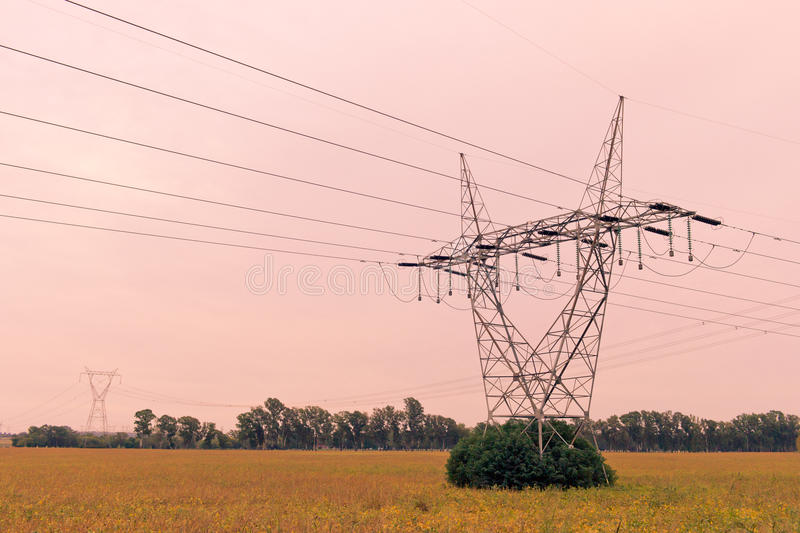 Power line tower royalty free stock photography
