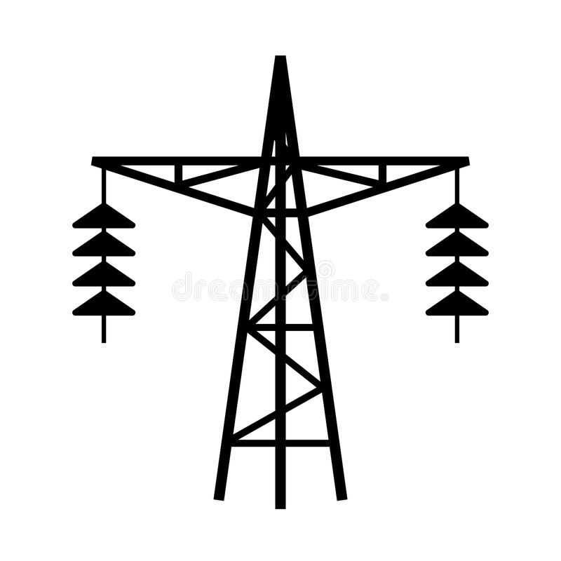 Power line tower vector icon royalty free illustration