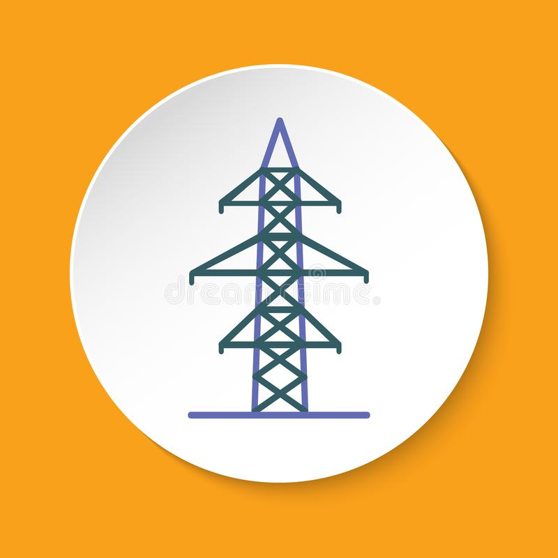 Power line transmission tower icon in flat style on round button vector illustration