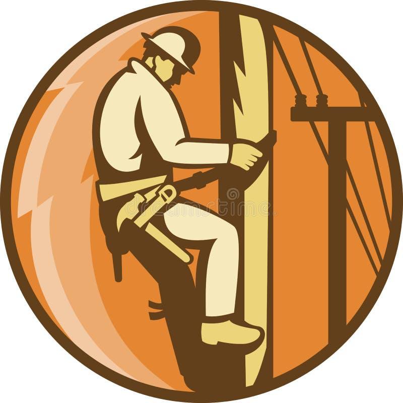 Power Lineman Electrician Climbing Utility Post Royalty Free Stock Photo