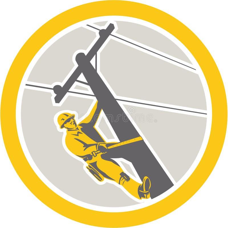 Power Lineman Repairman Climbing Pole Circle stock illustration