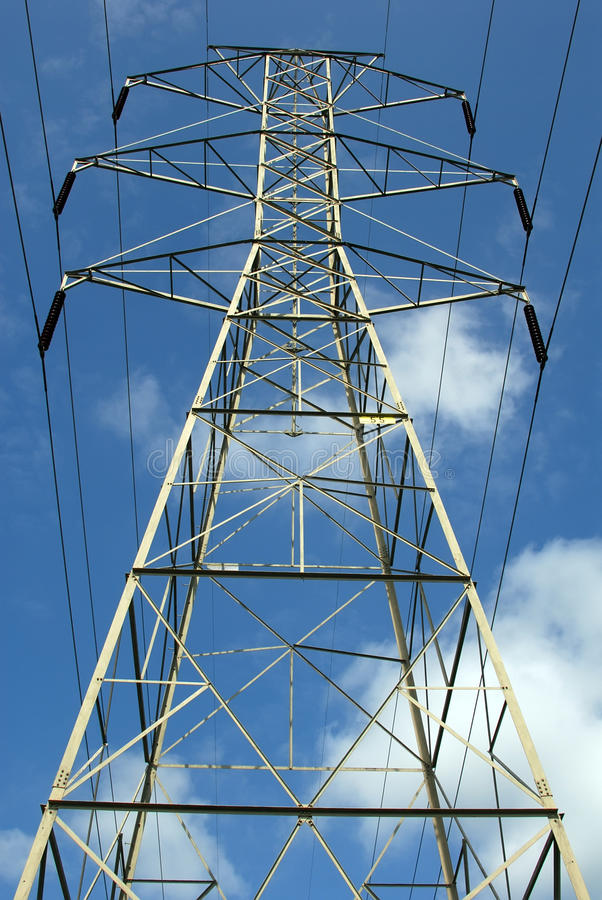 Power lines. Electric power lines against blue sky royalty free stock photography