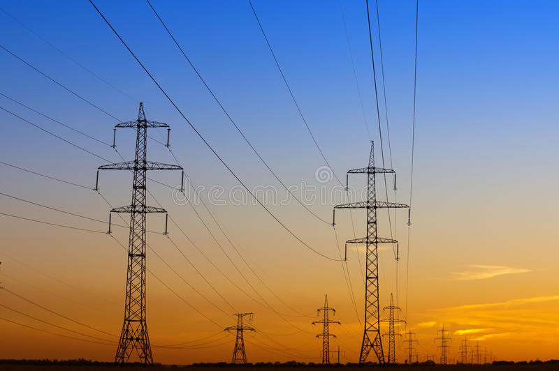 Download Power lines. stock image. Image of color, electricity - 26814363