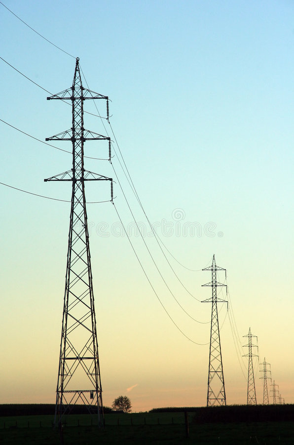 Power lines stock photo