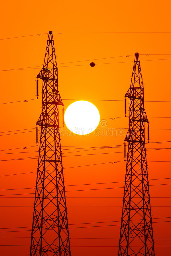 Download Power lines stock photo. Image of electricity, evening - 5824252