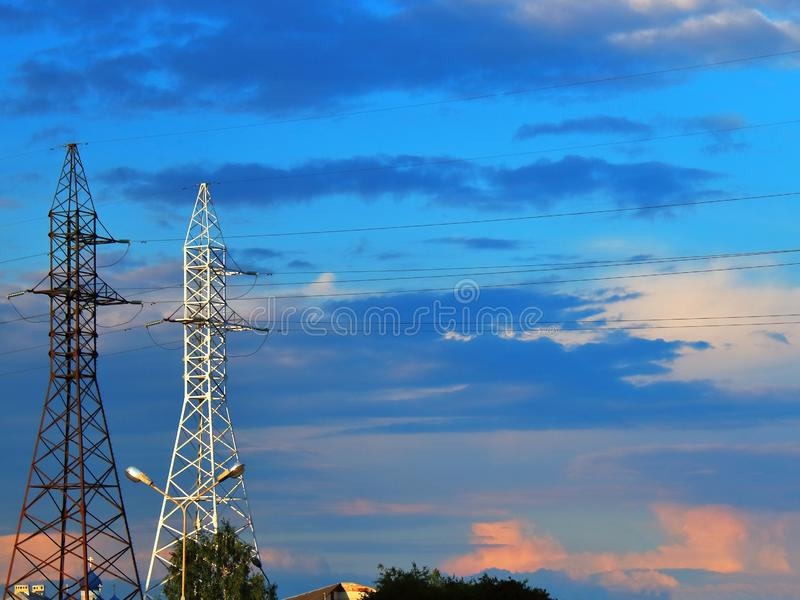 Power lines against the motley royalty free stock image