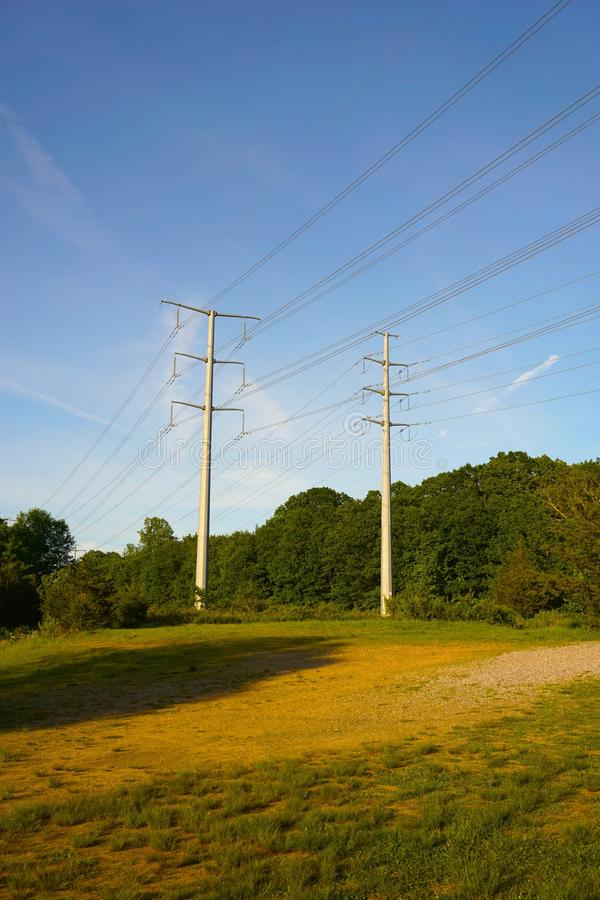 Power lines, perspective vertical image stock image
