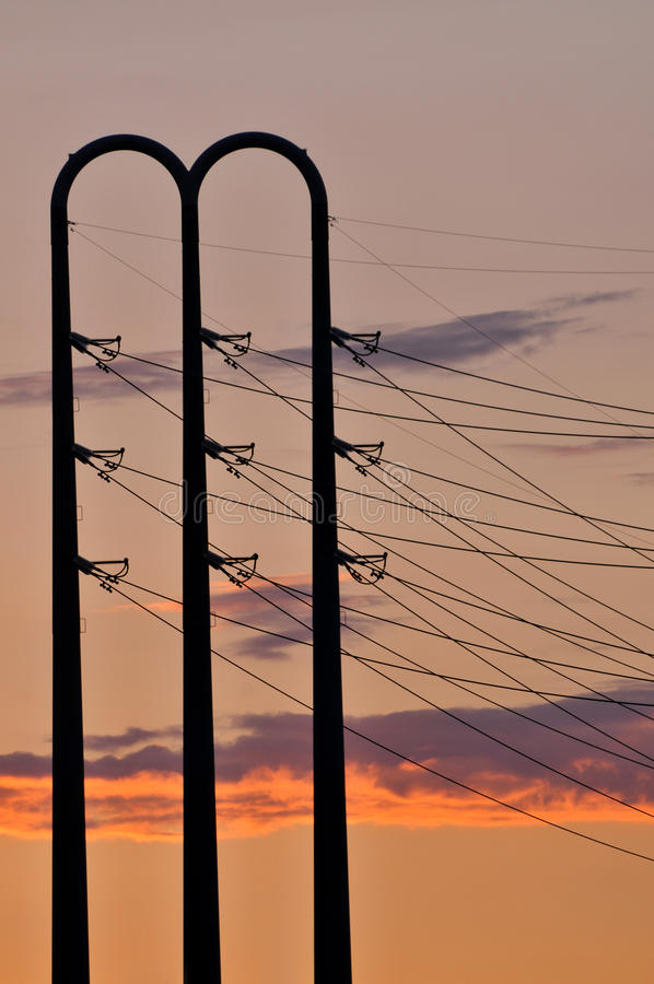 Power Lines At Dusk Royalty Free Stock Photos