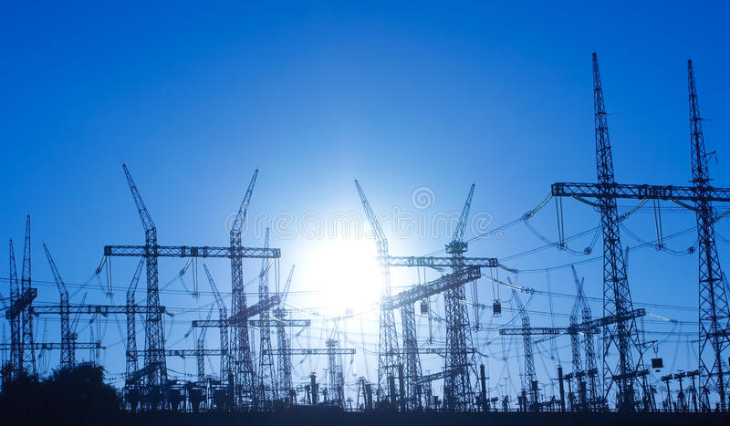 Power lines and electric pylon royalty free stock photo