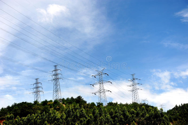 Download Power Lines And Electric Pylons Stock Illustration - Image: 13196446