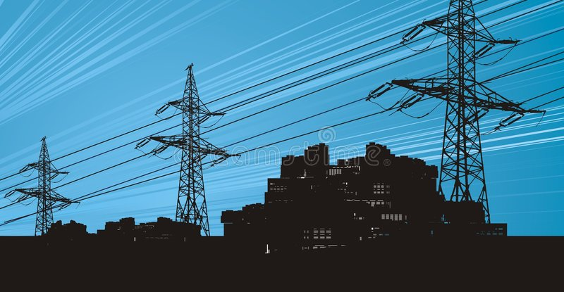 Power lines in the electric sky vector illustration