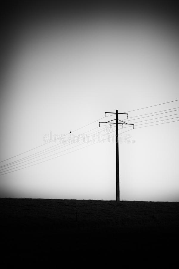 Power lines in a grim situation royalty free stock images