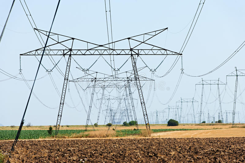 Power lines high voltage stock photography