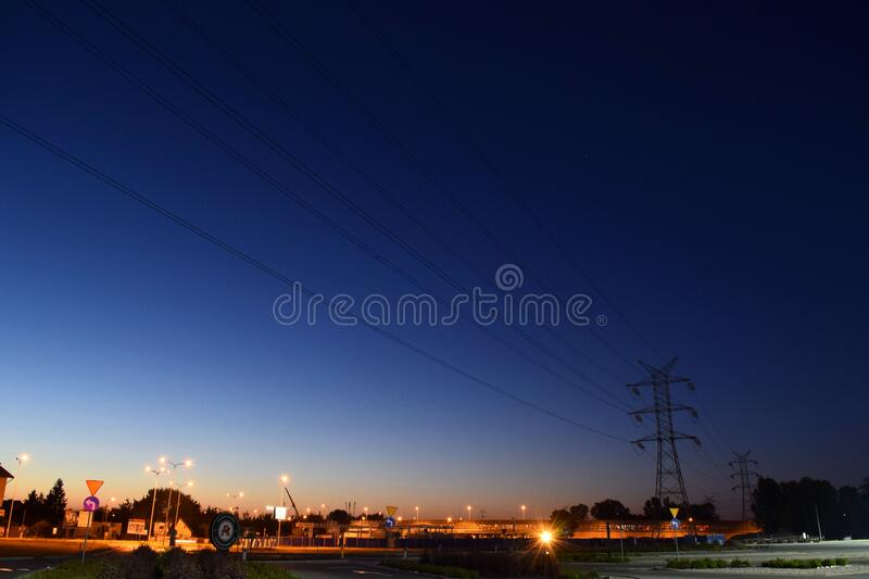 Power Lines On Night Roadside Free Public Domain Cc0 Image