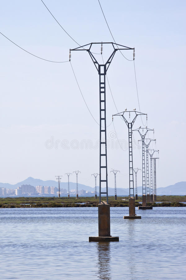 Download Power Lines - Salt Flats - Murcia - Spain Stock Photo - Image: 19640622
